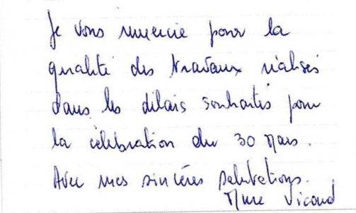 Remerciements Madame V